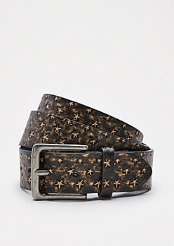 Gold Star Faux Leather Belt