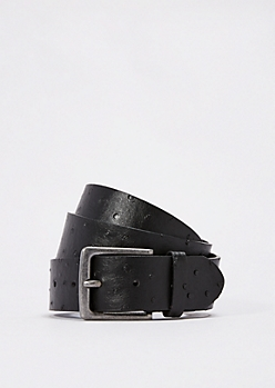 Black Faux Ostrich Leather Belt
