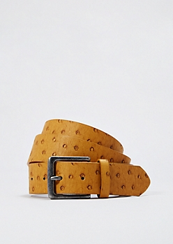 Cognac Faux Ostrich Leather Belt