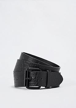 Black Faux Croc Skin Belt