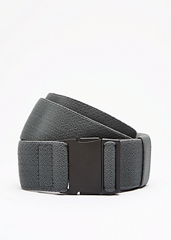 Gray Chevron Webbed Elastic Belt