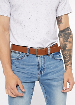 Brown Leather Antique Buckle Belt