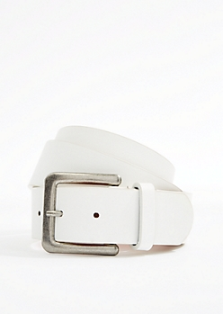 White Leather Antique Buckle Belt