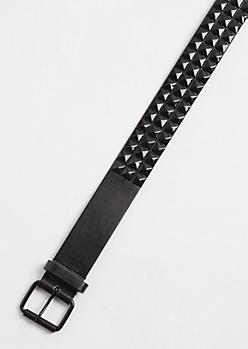 Black Out Tri Studded Belt