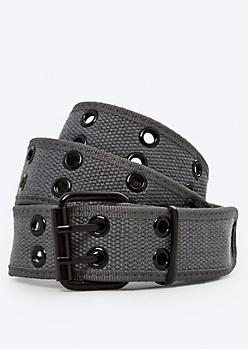 Charcoal Woven Grommet Belt