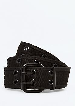 Black Woven Grommet Belt