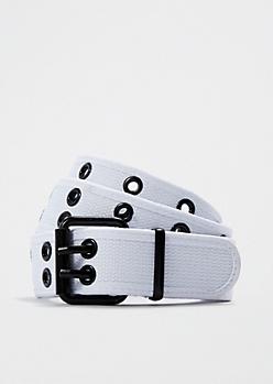 White Woven Grommet Belt