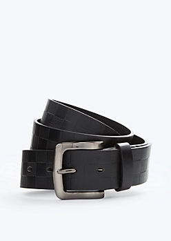 Black Checkered Faux Leather Belt