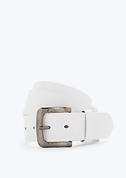 White Checkered Faux Leather Belt