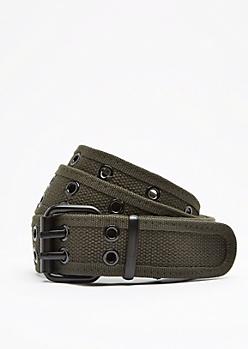 Olive Double Grommet Webbed Belt