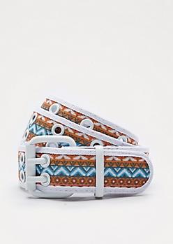 Tribal Striped Double Grommet Belt