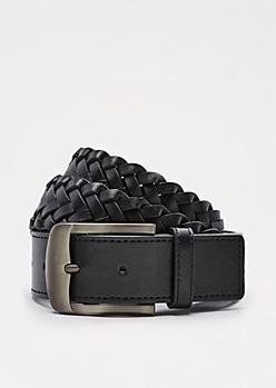 Brushed Chrome Buckle Braided Belt