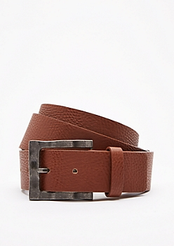 Cognac Washed Faux Leather Belt