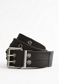 Black Woven Reversible Grommet Belt