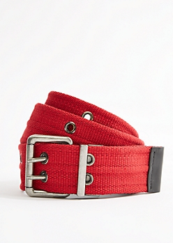 Red Woven Reversible Grommet Belt