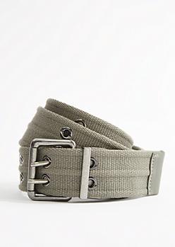 Dark Olive Woven Reversible Grommet Belt