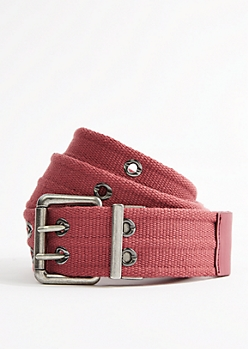 Dark Pink Woven Reversible Grommet Belt