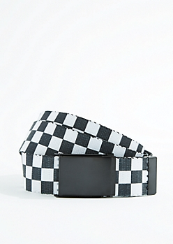 Checkered Reversible Webbed Belt