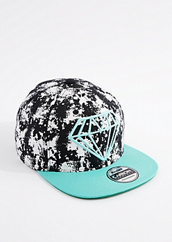 Mint Gem Paint Splatter Snapback