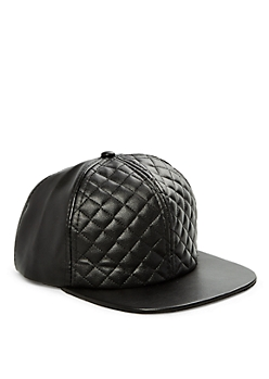 Quilted Crown Faux Leather Snapback Hat