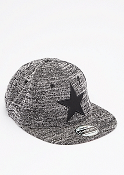 Embroidered Star Marled Knit Snapback