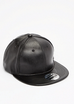 Black Faux Leather Snapback