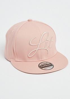Pink Lit Stitched Snapback