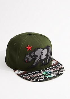 Dark Olive Cali Republic Bear Snapback