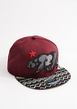 Burgundy Cali Republic Bear Snapback