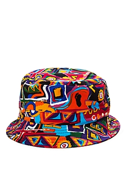 Black 90s Geo Graffiti Bucket Hat
