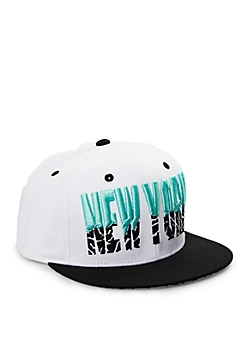 White New York Mint Crackle Snapback Hat