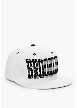 White Brooklyn Stars & Stripes Snapback Hat