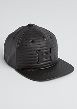 Black H Moto Quilted Snapback