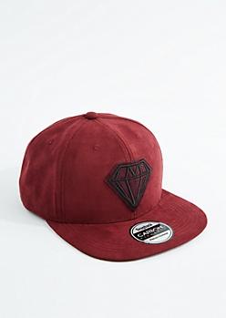 Gemstone Mock Suede Snapback Hat