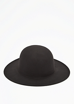 Black Wide Brim Felt Fedora
