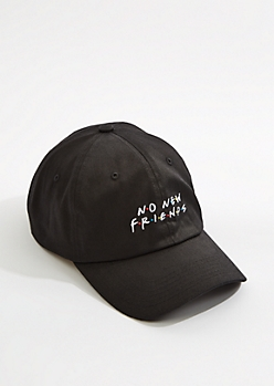 White No New Friends Dad Hat