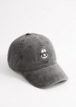 Washed Black Panda Dad Hat