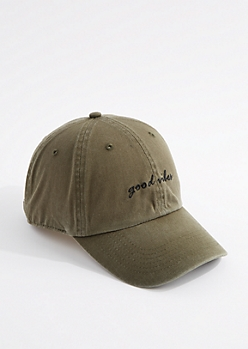 Olive Good Vibes Dad Hat