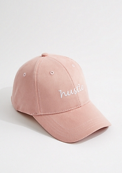 Pink Faux Suede Hustle Dad Hat