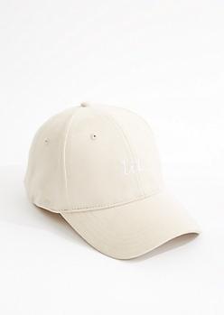 Khaki Faux Suede Lit Dad Hat
