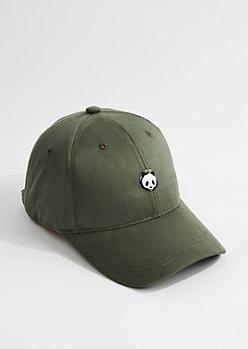 Olive Faux Suede Panda Dad Hat
