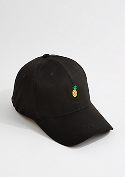 Black Faux Suede Pineapple Dad Hat