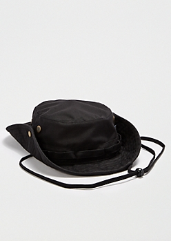 Black Mesh Grommet Bucket Hat