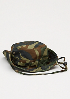 Green Camo Grommet Bucket Hat