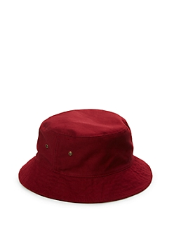 Burgundy Grommeted Twill Bucket Hat