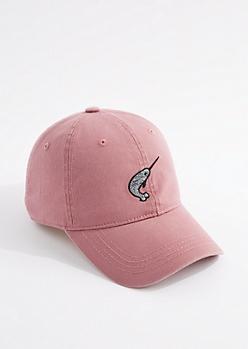 Dark Pink Narwhal Dad Hat