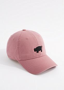 Dark Pink Pig Dad Hat