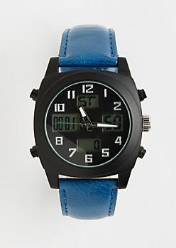 Blue Digital 5-Dial Watch
