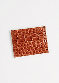 Brown Faux Alligator Card Holder
