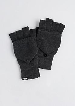 Gray Mitten Flap Gloves